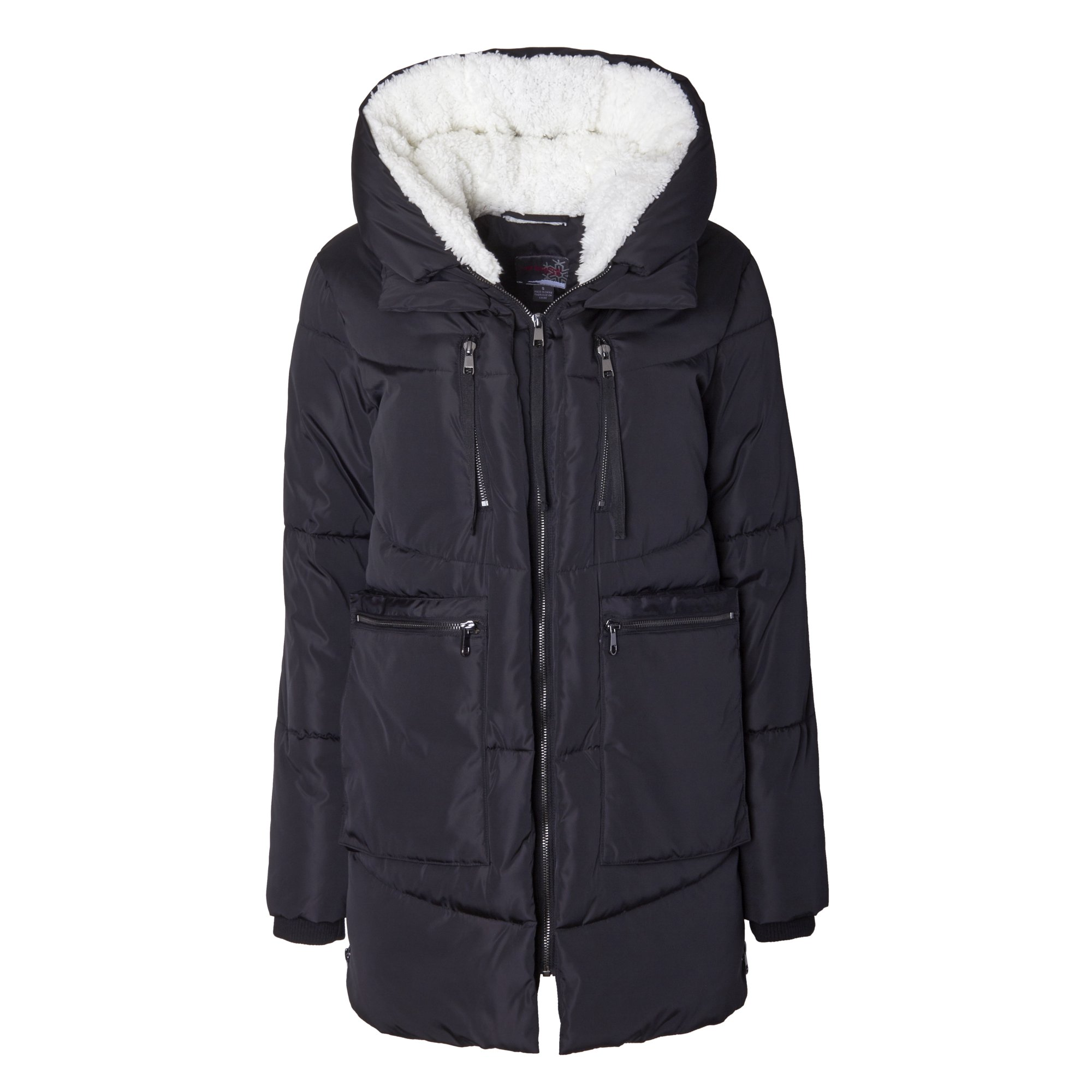 f07c5eae7ca Sportoli Women Fashion Winter Side Zip Lined Puffer Parka Coat Sherpa Lined  Hood