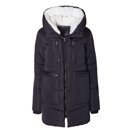 Sportoli Women Fashion Winter Side Zip Lined Puffer Parka Coat Sherpa Lined Hood