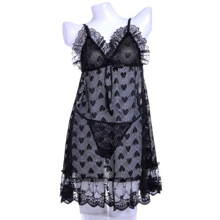 Black Negligee - Anna-Kaci S/M Fit Black Love Well and Be Heart-y All Over Heart Pattern Negligee