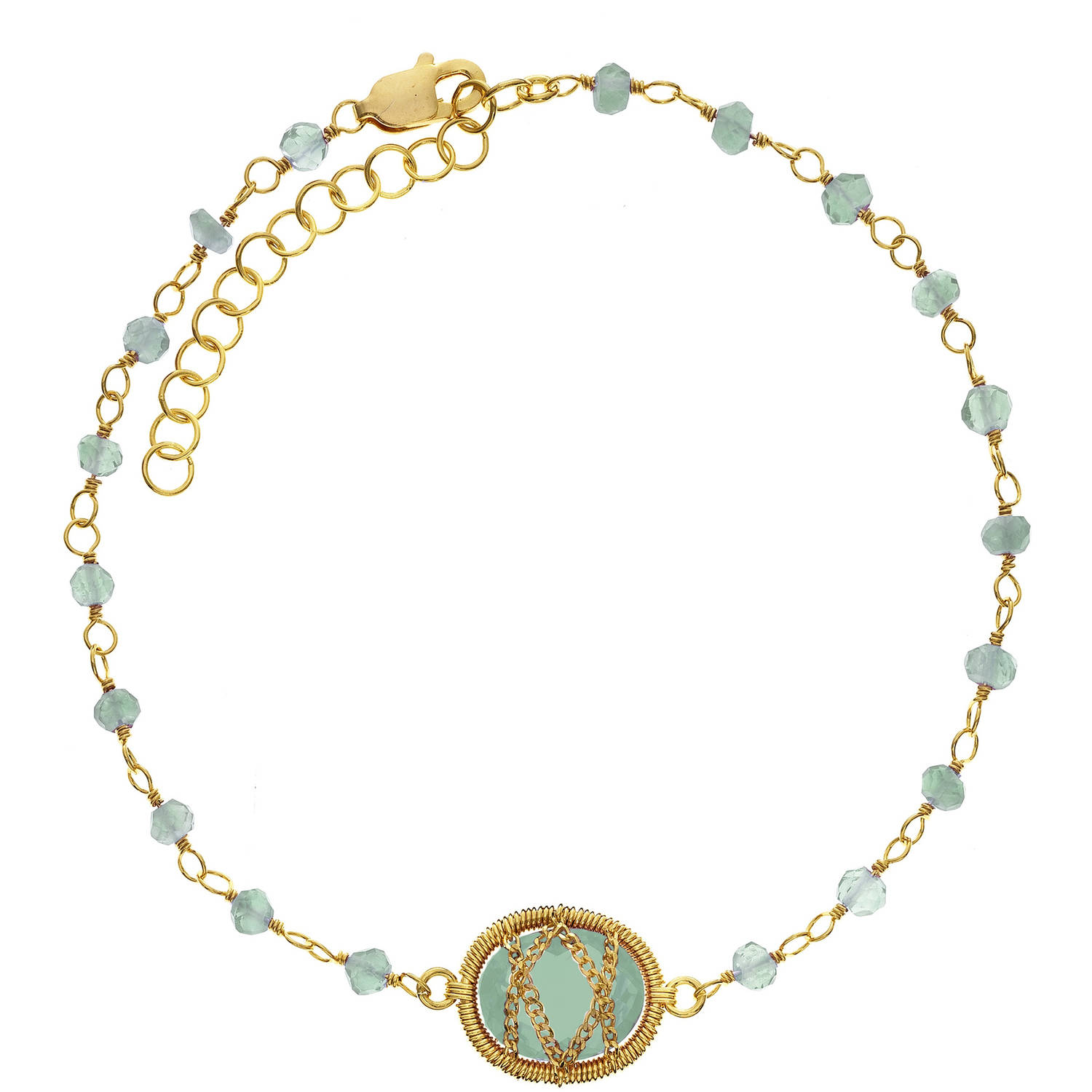 Image of 5th & Main 18kt Gold over Sterling Silver Hand-Wrapped Beaded Chalcedony Stone Bracelet
