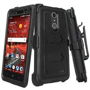 ZTE ZMAX One (Z719DL) Case, ZTE Grand X 4 Case, ZTE Blade Spark Z971 Case [Shock Proof] Heavy Duty Belt Clip Holster, Full Body Coverage Built In Screen Protector / Dual Layer Protection, Black