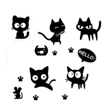 Unique Bargains Black Cats Pattern Removable Wall Sticker Decal Wallpaper Room Decor - Halloween Cat Wallpaper Desktop