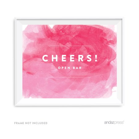 Open Bar Cheers! Pink Watercolor Wedding Party Signs](Open Bar Wedding)