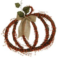 Brown and Orange Berry with Leaves and Burlap Bow Pumpkin Autumn Wreath - 25 Inch, Unlit