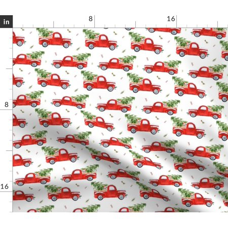 Christmas Tree Red Truck Rustic Country Dog Fabric Printed by Spoonflower BTY ()