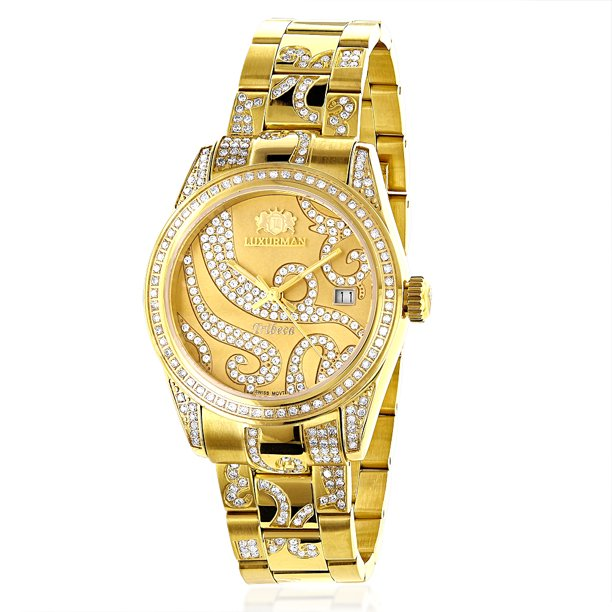 Iced Out Tribeca Ladies Diamond Watch 3ct Diamond 18k Yellow Gold Plated