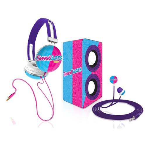 Candeez SweeTarts Stereo Combo Pack w/ Headphones, Earbuds, Mini Speaker