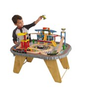 KidKraft Transportation Station Wooden Train Set and Table with Airport, Helicopter, 58 Pieces