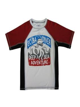 "OP Boys White Red ""Scuba Diver"" Print Short Sleeve Rashguard"