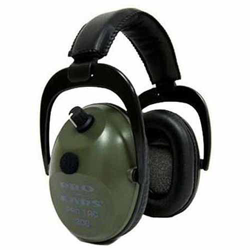 Pro Ears Electronic Hearing Protection Pro Tac Plus Gold, Green, Lithium 123 Battery