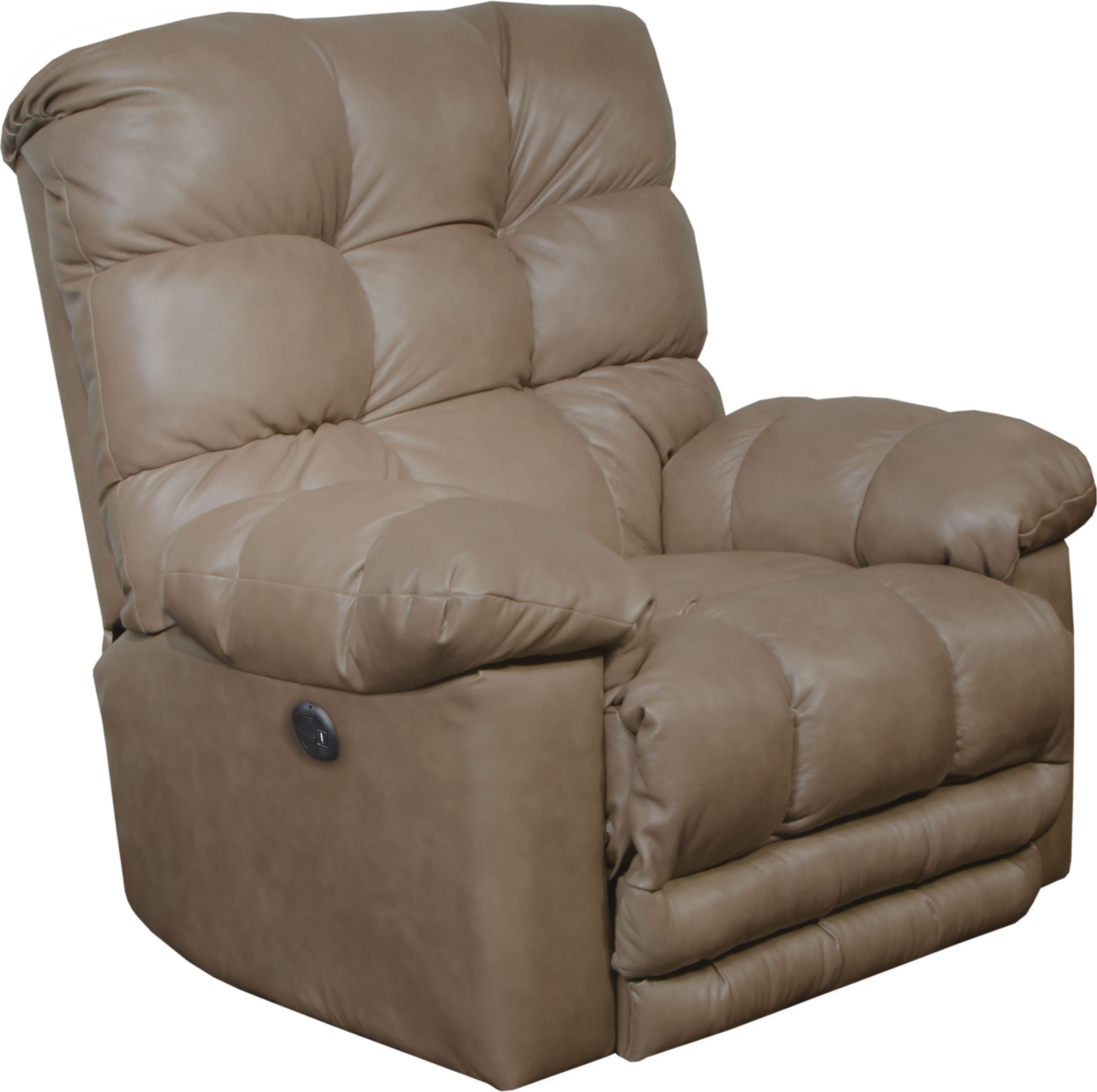 Catnapper Piazza Top Grain Leather Touch Power Lay Flat Recliner withX-tra Comfort Footrest in Smoke