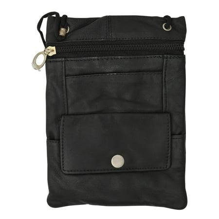 Elegance Look Leather Cross Body Bag Leather Shoulder Purse w Zipper Pocket Different Colors 1410 - Pocket Shoulder Bag Purse