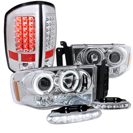 Spec-D Tuning 2002-2005 Dodge Ram Halo Led Chrome Proj Headlights, Led Tail Lights, Led Fog Lamps (Left + Right) 02 03 04 05