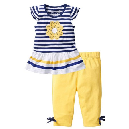 Baby Girls Kids Clothes Short Sleeves Daisy T-Shirt + Striped Trousers Short Pants 2Pcs Outfits Sets 1-2 Years