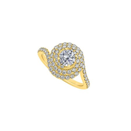 Cubic Zirconia Swirl Design Ring in 14K Yellow Gold - image 1 of 4
