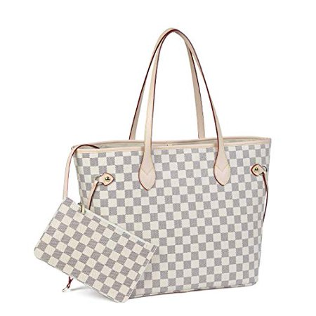 Daisy Rose  Daisy Rose Checkered Tote Shoulder Bag with inner pouch - PU Vegan Leather (Cream)
