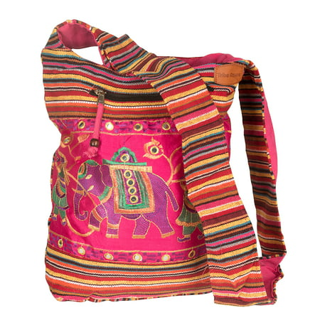 Pink Hobo Shoulder Bag Handmade Embroidered Elephant Boho Bohemian Hippie Tote Gypsy Beach Bag