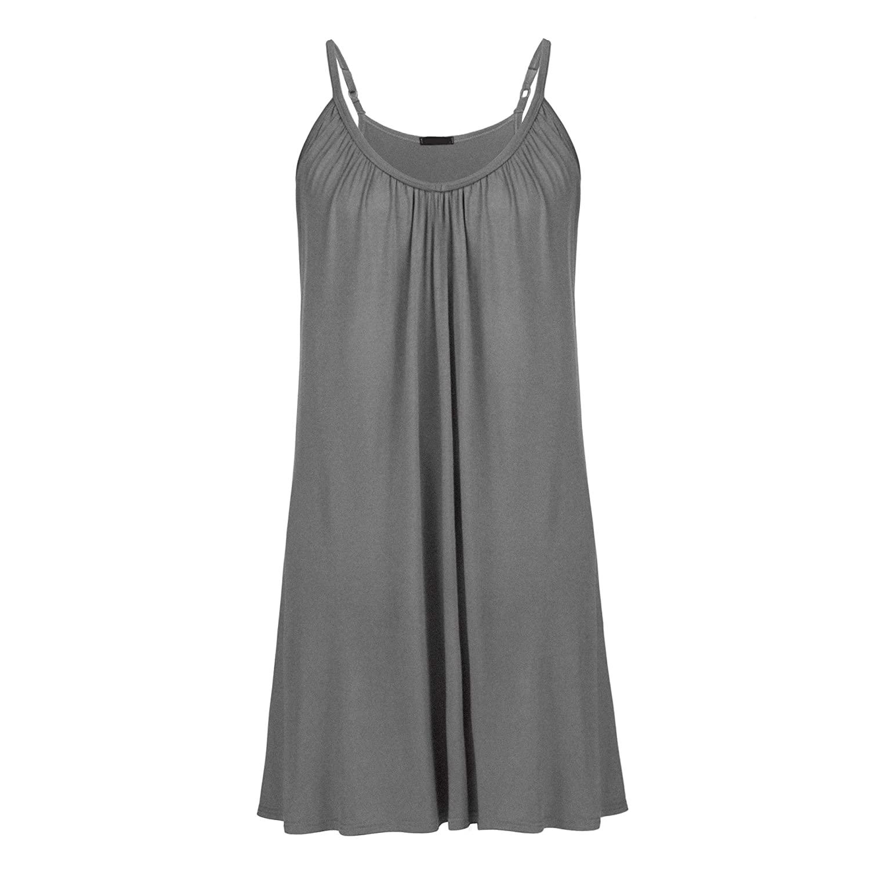 Womens Plus Size Nightgown Sleeveless Sleepwear Modal Cotton Sleepshirts Slip Night Dress L-5XL