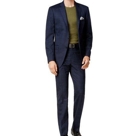 Calvin Klein Navy Mens Plaid Two Button Wool Suit Washable Wool Suits