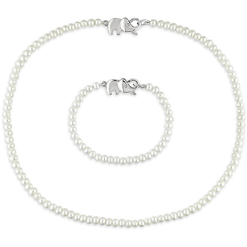 Cutie Pie 3.5-4mm White Cultured Freshwater Pearl Sterling Silver Necklace and Bracelet Girls' Set with Elephant Clasp