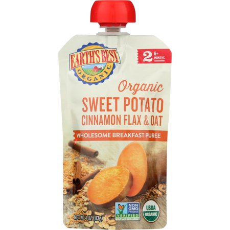 Earth's Best Organic Stage 2, Sweet Potato Cinnamon Flax & Oat, 4 Ounce Pouch (Pack of