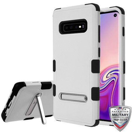 Samsung Galaxy S10 Phone Case Tuff Hybrid Shockproof Impact Armor Rubber Rugged Hard TPU Protective Kickstand [Military-Grade Certified] Cover GRAY BLACK Phone Case for Samsung Galaxy S10 (6.1