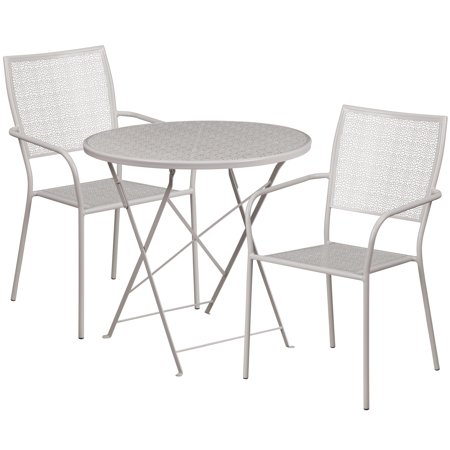 Sv 6834 Chr (Flash Furniture 30'' Round Indoor-Outdoor Steel Folding Patio Table Set with 2 Square Back Chairs, Multiple Colors)