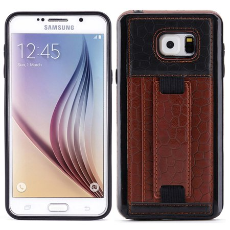 Brown Leather Phone Case Wallet Cover Card ID Slots Stand Protective Skin J5K for Samsung Galaxy Note 5 - Leather Skin Cover