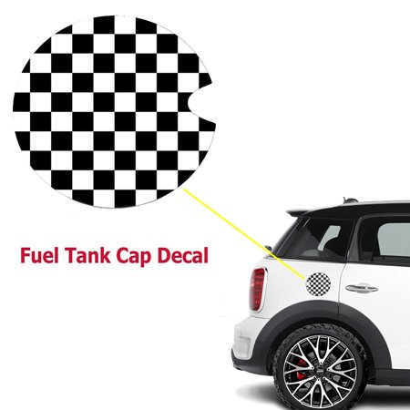 Xotic Tech 1 Piece Ultra Thick Black White Checkered Racing Flag Pattern Plastic Vinyl Sticker For Mini Cooper Gas Cap - Black And White Racing Flag