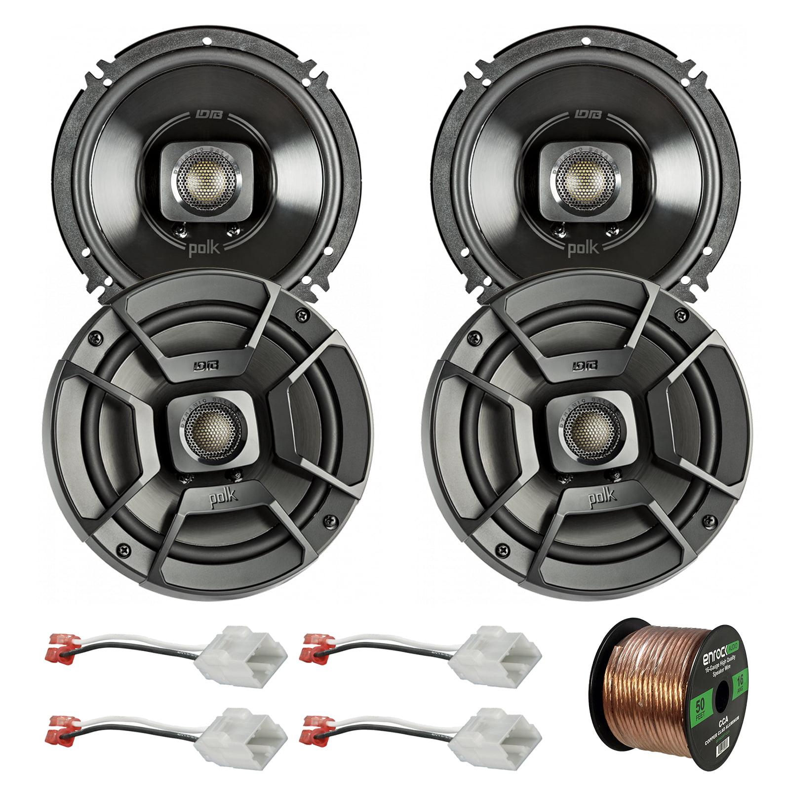 "4x Polk Audio 6.5"" 300W 2 Way Car/Marine ATV Stereo Coaxial Speakers DB652, 4x Metra 72-6514 Speaker Harness for Select Chrysler/Dodge Vehicles, Enrock Audio 16-Gauge 50 Foot Speaker Wire"