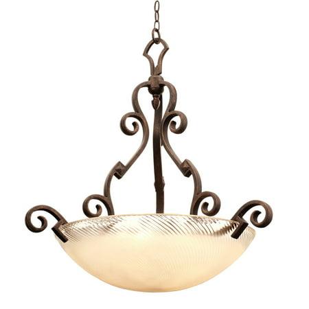 Pendants 5 Light Bulb Fixture With Tortoise Shell Finish Antique Filigree Glass Hand Forged Iron E26 33