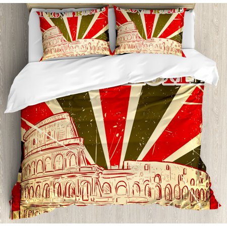 - Quote Decor Queen Size Duvet Cover Set, I Love Rome Lettering with Circus Tent and Bold Stripes Ancient, Decorative 3 Piece Bedding Set with 2 Pillow Shams, Red Dark Green and White, by Ambesonne