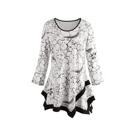 Women's Tile Print Tunic Top - Black and White Print Fashion