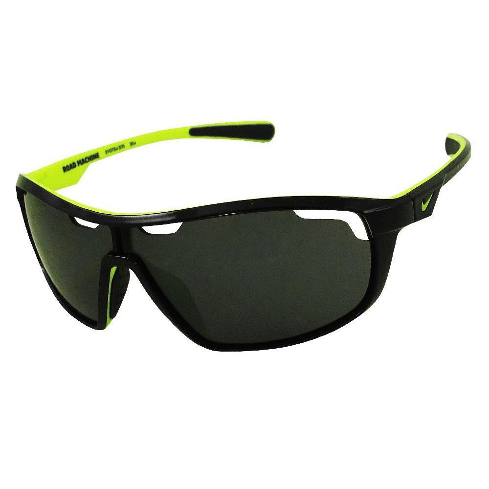 Nike EV0704-070 Road Machine Wrap Sunglasses Black Volt Frame Gray Lenses