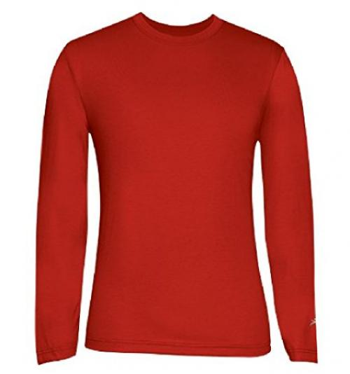 Terramar Men's Drirelease Long Sleeve Crew T-Shirt (XX-Large, Flame)