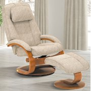 Oslo Collection by Mac Motion Bergen Recliner and Ottoman in Teatro Linen Fabric