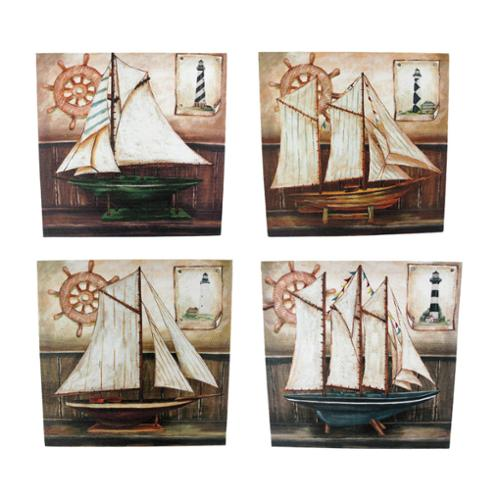 Set Of 4 Sailboat Painted Canvas Wall Hangings Nautical