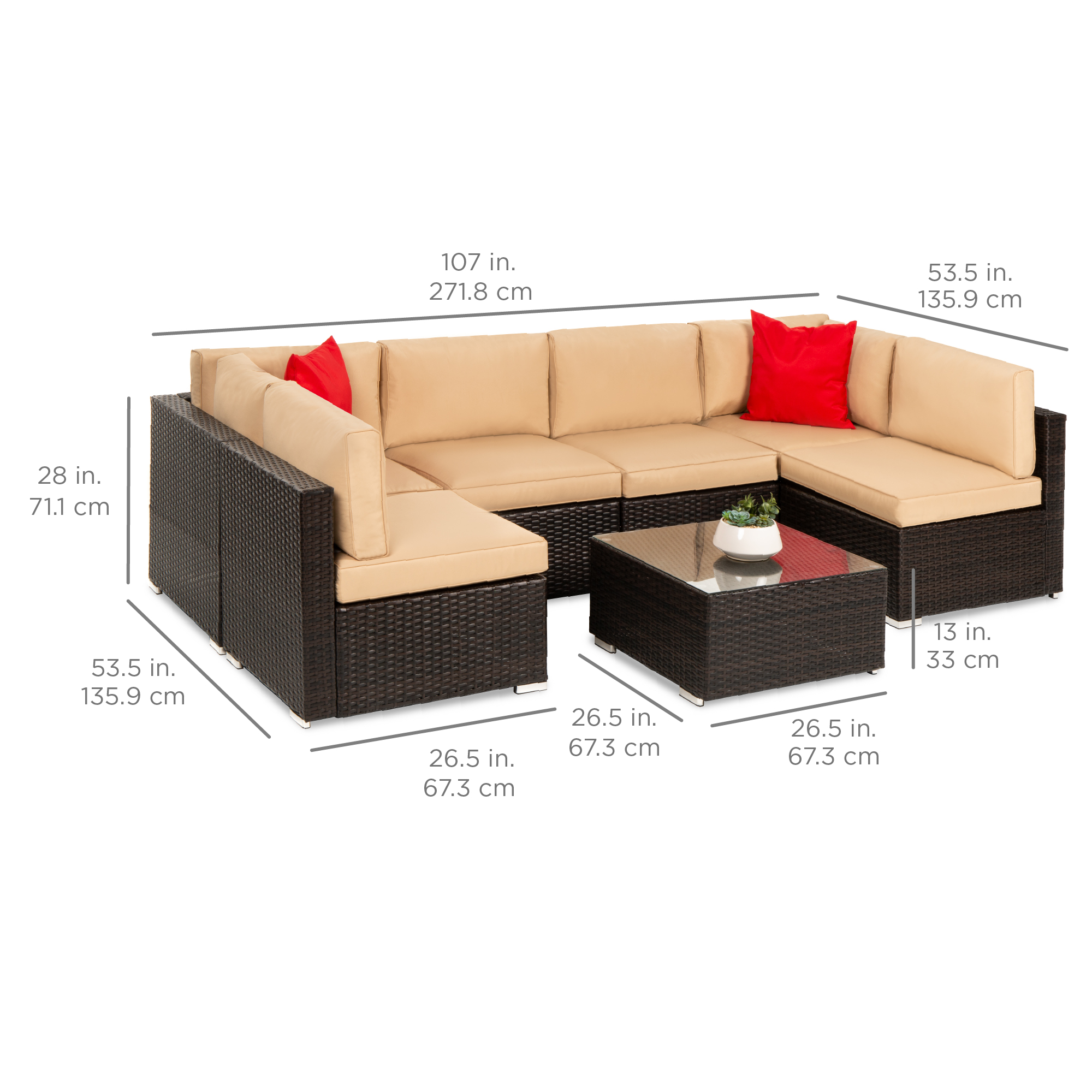 7 Piece Modular Outdoor Patio Furniture