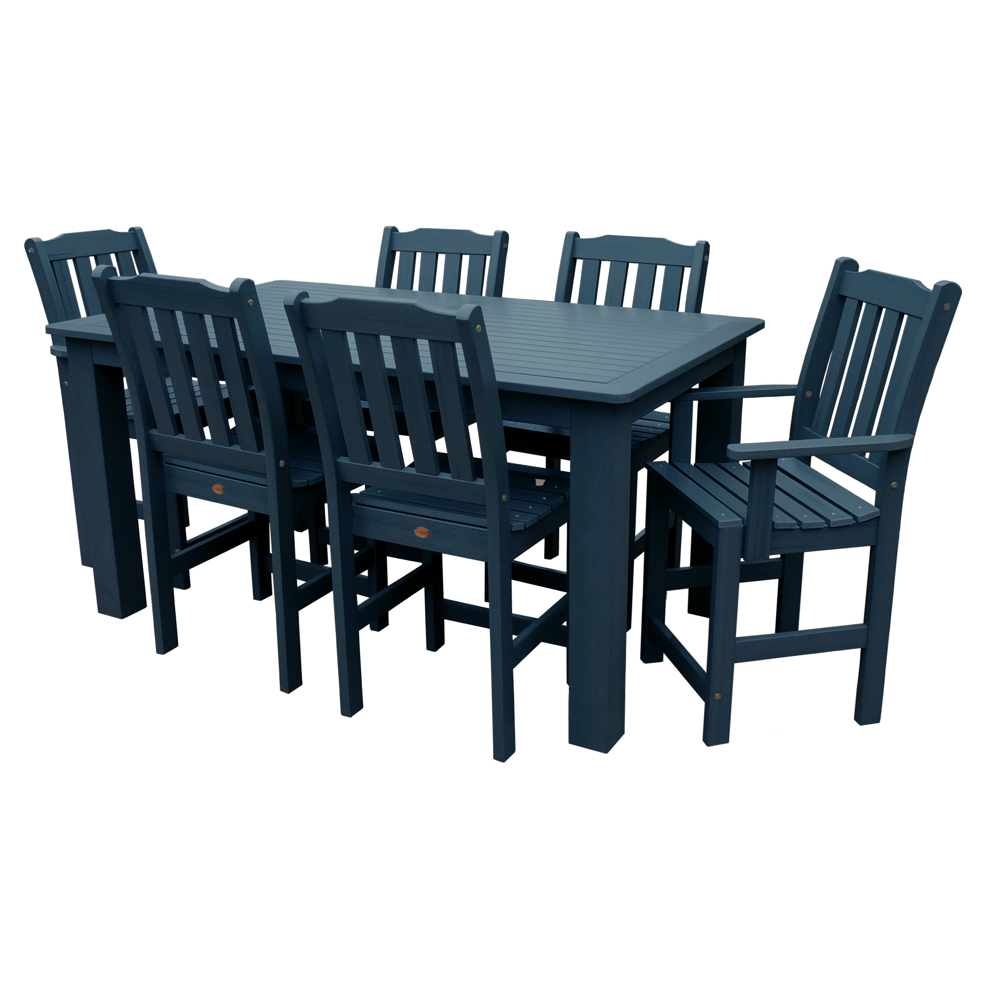 highwood Lehigh Recycled Plastic 7 pc. Rectangular Gathering Height Patio Dining Room Set by Highwood USA Inc