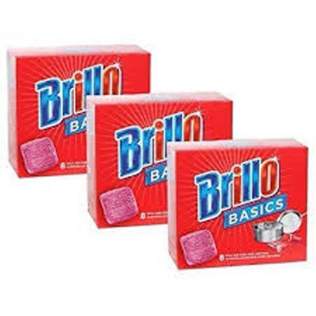 Brillo Basics Steel-wool Soap Pads, 8-ct. Boxes - Pack of 3 -