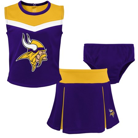 Viking Woman Outfit (Minnesota Vikings Girls Toddler Two-Piece Spirit Cheerleader Set with Bloomers -)