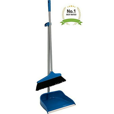 Blue Red Long Upright Handle Dustpan And Brush Broom Set Lobby Home Modern Comfort Grip Flexible & Durable Sweeper