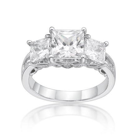 Sterling Silver Princess Cut Three Stones Simulated Diamond Ring