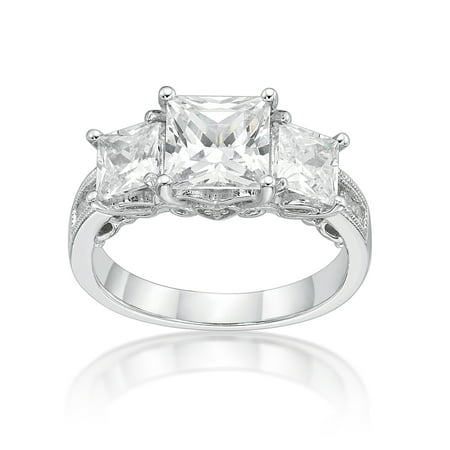 - Sterling Silver Princess Cut Three Stones Simulated Diamond Ring