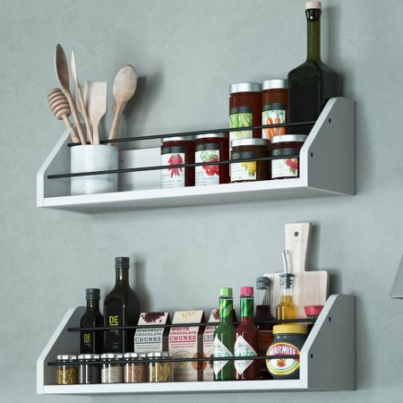 Set of 2 Kitchen White Wall Shelf with Black Metal Section Railing Great For Spice Dressing Jar Display Organizer Storage Rack Each Shelf is 24 inch Buyer Receives 2