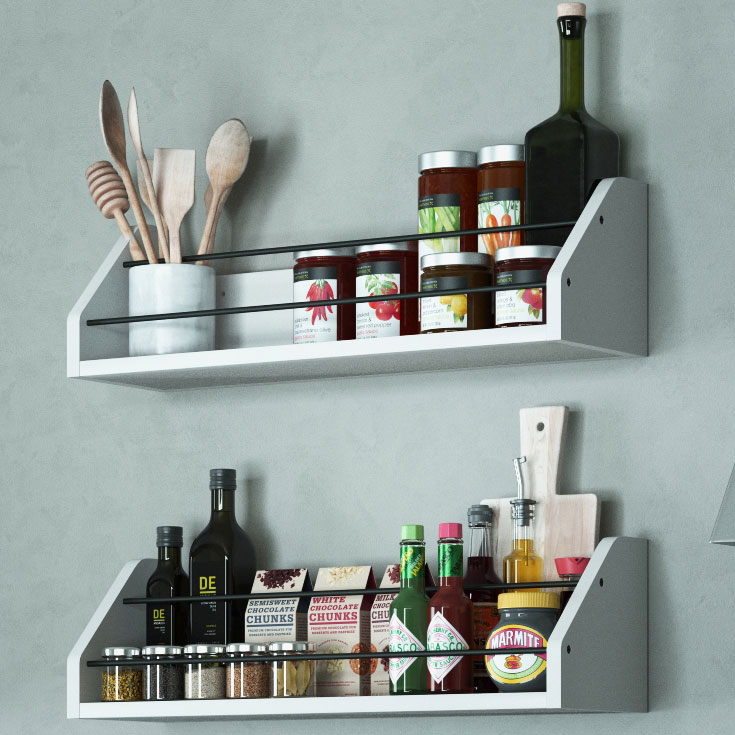 Set Of 2 Kitchen White Wall Shelf With Black Metal Section Railing Great  For Spice Dressing