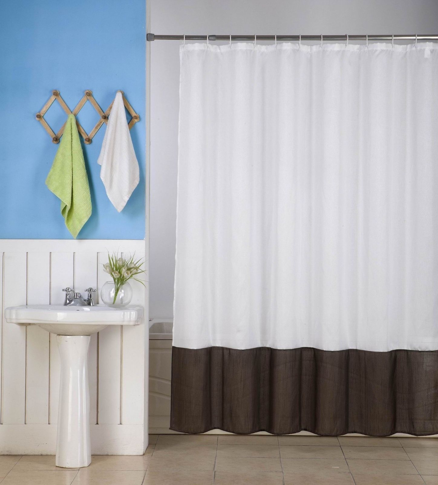 "1PC (H10) WHITE BROWN FAUX SILK 2 SHADES SOLID BATHROOM  BATH FABRIC SHOWER CURTAIN  WATER REPELLENT 72"" X72"""