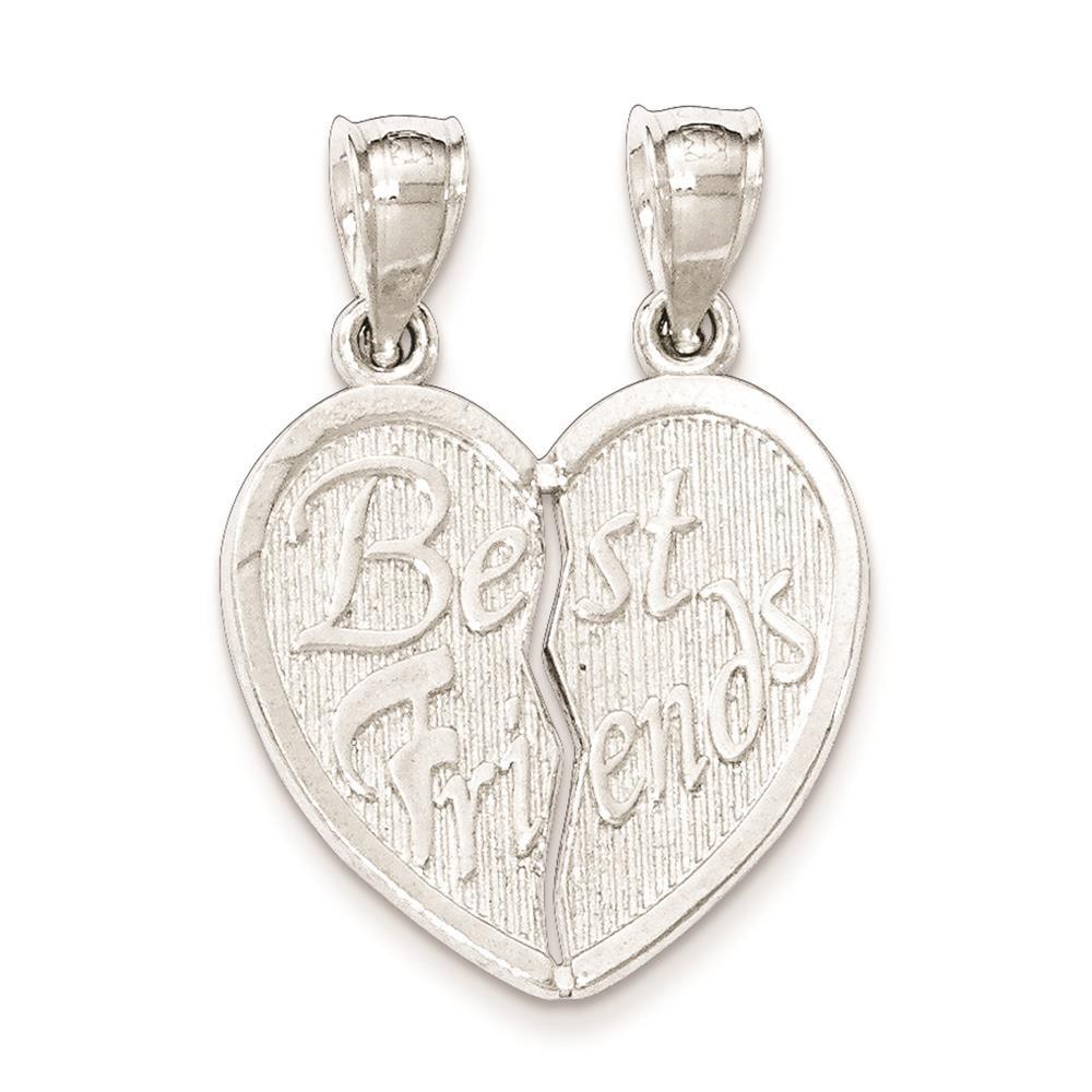 925 Silver Polished Best Friends Break Apart Heart Two Piece Charm Pendant