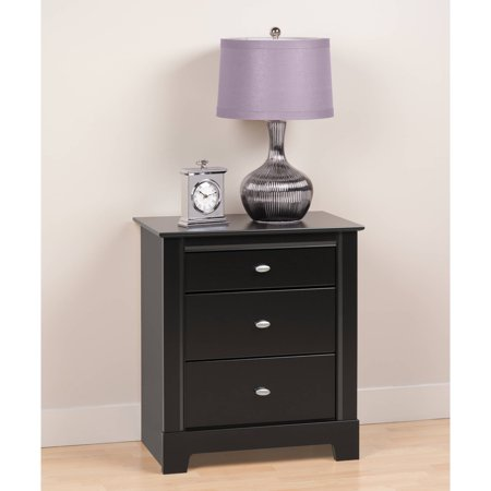 black kallisto nightstand 3 drawer. Black Bedroom Furniture Sets. Home Design Ideas