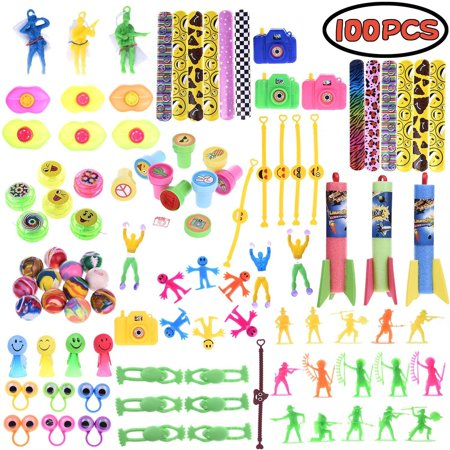 Assorted Giveaway Toys for Party Favor Boxes for Kids,Pinata Filler Toy,Party Supply,Slap Bracelets, Mini Cameras,Stamps,Yo-Yos,Wall Climbing Goodie Bags for Birthday F-170